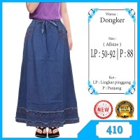 Rok Panjang Jeans Anak Usia 7-12 tahun kombinasi list bunga