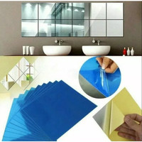 Stiker Dinding Kaca Cermin Mirror Wallsticker PVC Decoration DIY 9PCS