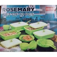 Asvita Emerald Rosemary Set 12 Pcs Wadah Saji Makanan / Tempat Makan