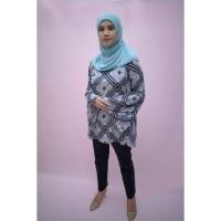 blouse | busana muslim wanita A004 | biru motif atasan