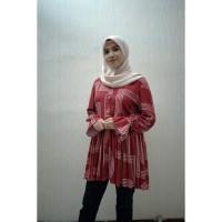 blouse | busana muslim wanita A011 | Merah Motif garis