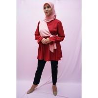 Blouse Atasan muslim wanita A002 | warna Merah kombinasi Pink