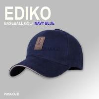 1A64 EDIKO Topi Baseball Golf Logo Ediko Sport Fashion - Navy Blue