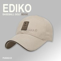 1A62 EDIKO Topi Baseball Golf Logo Ediko Sport Fashion - Beige
