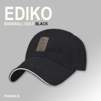 1A63 EDIKO Topi Baseball Golf Logo Ediko Sport Fashion - Black