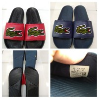 sendal karet slip on Lacoste big logo