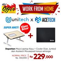 Meja Laptop Portable Kayu With Cooler Cooling Fan Coolingpad Big Fan