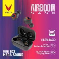 Airboom Nano TWS Bluetooth Earphone-Super Mini, 14in1 Function,Premium - Hitam