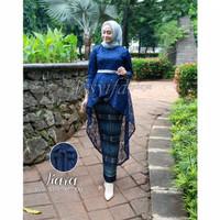 kebaya brokat muslim modern set rok batik - navy, M
