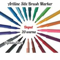 Paket 20 warna Artline Stix Brush Marker Kaligrafi Lettering Brush Pen
