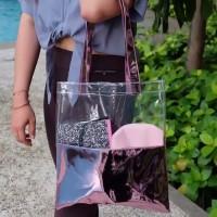 Tote Bag PVC Hologram Transparant Tebal Putih Pink Hitam