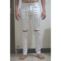 Hyper Denim Zipper Jeans White Ripped 28 (no rucas, mnml, zara, nudie)