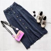 CUTELY - Rok Panjang Jeans Wanita Button Up Snow Black Naya