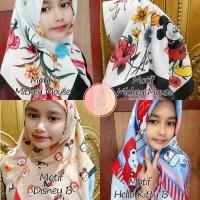 Jilbab Anak Motif Lucu Segiempat Kerudung Anak Motif Printing Hijab Vo