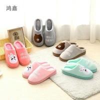 Sandal Rumah Indoor Santai / Sandal Couple Import Empuk Hangat Lucu 3 - Soft Pink, S