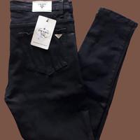 Celana jeans wanita straight 27-38 - Hitam, 27