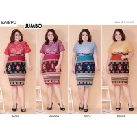 Dress Pesta Jumbo Batik Katun Bigsize Kombinasi Brokat Mewah vol55b