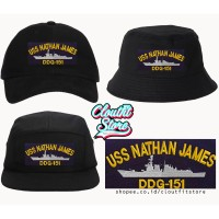 Topi Bordir Uss Nathan James Snapback 5 Panel Baseball Cap Bucket Hat