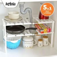 Angola E14 Rak Panci Bawah Wastafel Kitchen Rak Dapur Tempat Bumbu - Putih