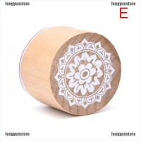 6 Styles Flowers Stamp Wooden Rubber Stamp Round Floral Pattern Luck