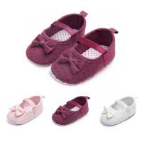 BOBORA Sepatu Elastis Motif Polkadot Aksen Pita untuk Bayi Perempuan