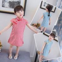 Chinese Style Summer Casual Baby Girls Sleeveless Plaid Print Dress