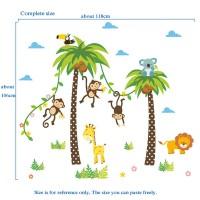 Stiker Dinding Motif Singa Jerapah Untuk Kamar Tidur Anak