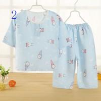 Piyama Pakaian Anak-anak 2pce Set Baby Cotton Summer Silk Suit_cowmn