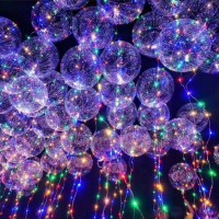 Balon Model Transparan dengan Lampu LED, Ukuran 18 Inci + Tali
