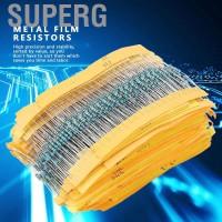 Superg 2000Pcs Resistor Film Metal 1 / 4W 100 Value 1 ohm ~ 1M ohm