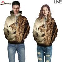 LMS 6 Sizes Men Women Animal 3D Graphic Print Sweatshirt Hoodie Long