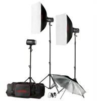 Godox Paket Studio MINI PIONEER 3 lampu softbox Payung - 160 W