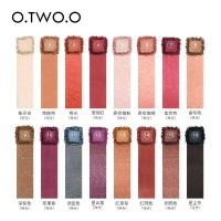 O.TWO.O Palet Eyeshadow 16 Warna Peach / Peach Tahan Lama Anti Air