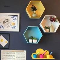 Blue2_Magnetic Wall Hanging Hexagon Storage Shelf Box Rack Home