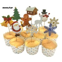 MS 10Pcs Christmas Tree Santa Deer Bell Snowflake Cake Topper Xmas