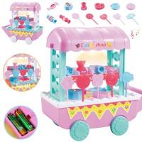 Mainan Gerobak Es Krim/Permen/Sayur/Buah Dengan Musik Untuk Anak