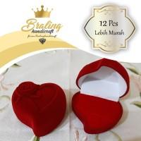 (12 Pcs) Kotak Cincin Perhiasan Hati Rose Love Bludru Nikah Lamaran