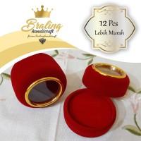 (12 Pcs) Kotak Cincin Perhiasan Bulat Kaca Gold Bludru Nikah Lamaran