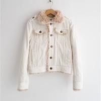 Jaket Import Bomber Corduroy Bulu Angsa Winter Pria Wanita Putih M