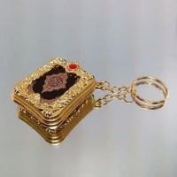 [EMAS] Gantungan Kunci Alqur'an / Miniatur Alquran Gold Souvenir Unik