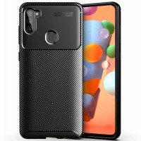 Carbon II TPU Case Samsung Galaxy A11 - Casing Black Soft Cover Hitam