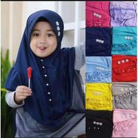 Kerudung Anak Kriwil Depan Variasi Mutiara/ Jilbab Hijab Anak TK Murah
