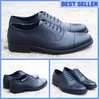 sepatu pantofel pria model oxford formal kantor pesta wisuda kerja pdh - Hitam, 37