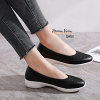 FLAT SHOES WANITA KULIT KARET CASUAL SPORT FORMAL DAN NON SH53 IMPORT