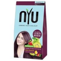 Cat rambut NYU Creme Hair Colour Warna Burgundy