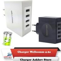 Charger Wellcomm 4.2a 4 port usb original 4.2 ampere perkakas