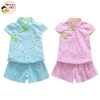 Baby Girls Chinese Style Cheongsam Floral Pattern Short Sleeve