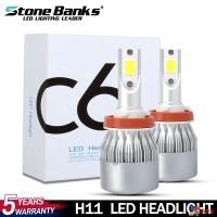 C6 H8 / 9 / 11 72W 8000LM 8000K Lampu Kepala Mobil 72W Warna Biru