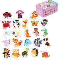 Mainan Puzzle Kayu Gambar Hewan Untuk Edukasi Anak