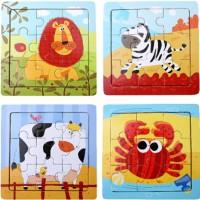 Puzzle Jigsaw Kayu Gambar Kartun Hewan untuk Edukasi